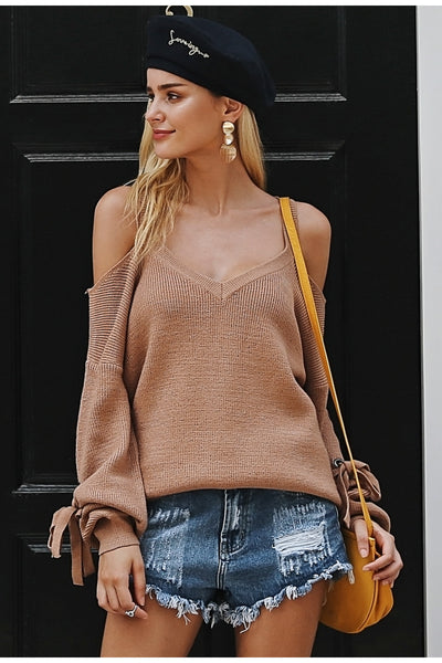 Carmella Cold Shoulder Pullover Sweater | Boho Fashion Clothing | Bijou Blossoms