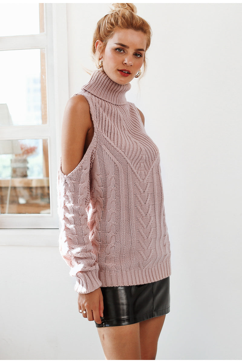 Sweetheart Rose Cold Shoulder Turtleneck Sweater | Sweet Bohemian Fashion Clothing | Bijou Blossoms