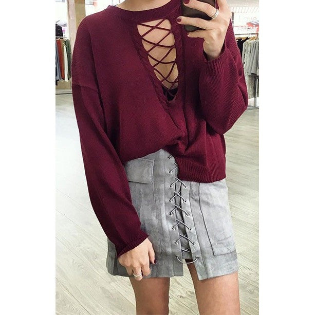 Apparel Autumn lace up suede leather women skirt 90's Vintage pocket preppy short skirt Winter high waist casual skirts