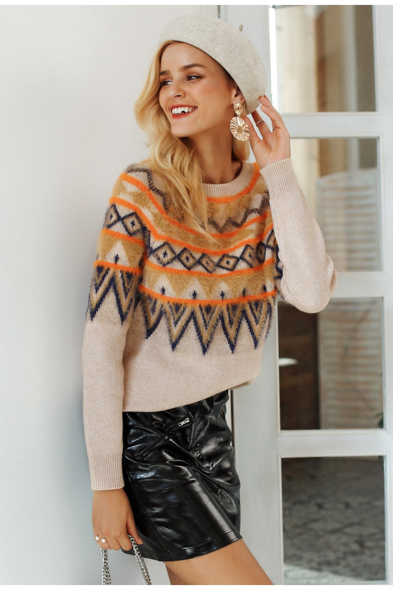 Lenni Geometric Print Sweater | Cute Boho Fashion Clothing | Bijou Blossoms
