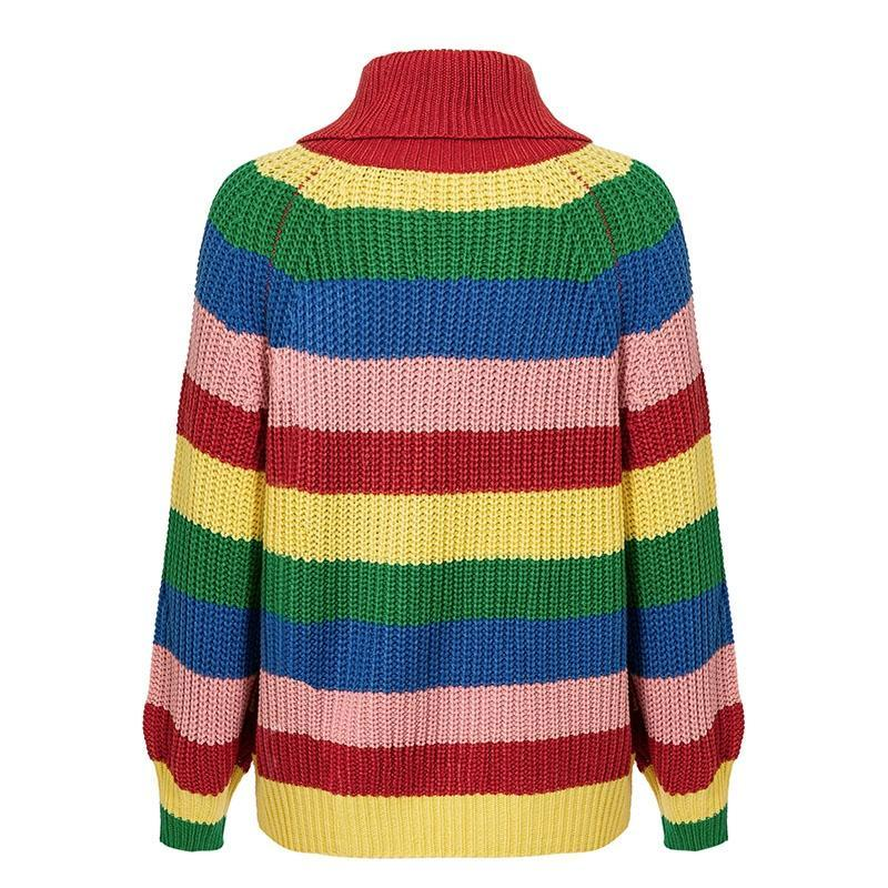 Rainbow Stripe Retro Sweater | Cute Boho Fashion Clothing | Bijou Blossoms