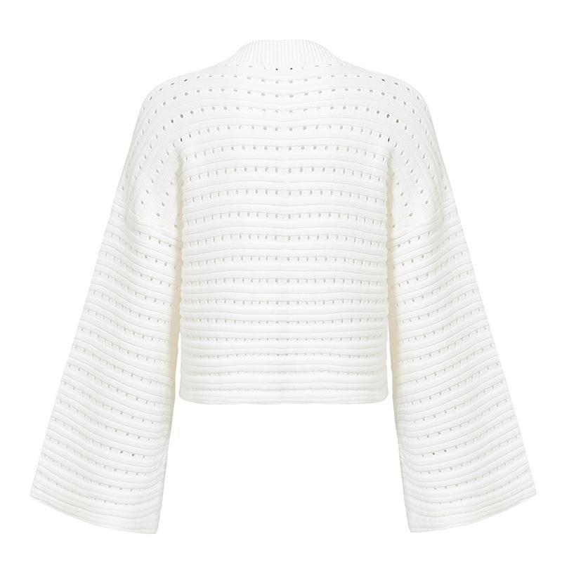 Aurelle White Bell Sleeve Sweater | Cute Bohemian Fashion Clothing | Bijou Blossoms