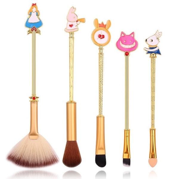 This adorable 5-piece makeup brush set features familiar designs from the classic Alice in Wonderland tale, including Alice, the Cheshire cat, and the rabbit.