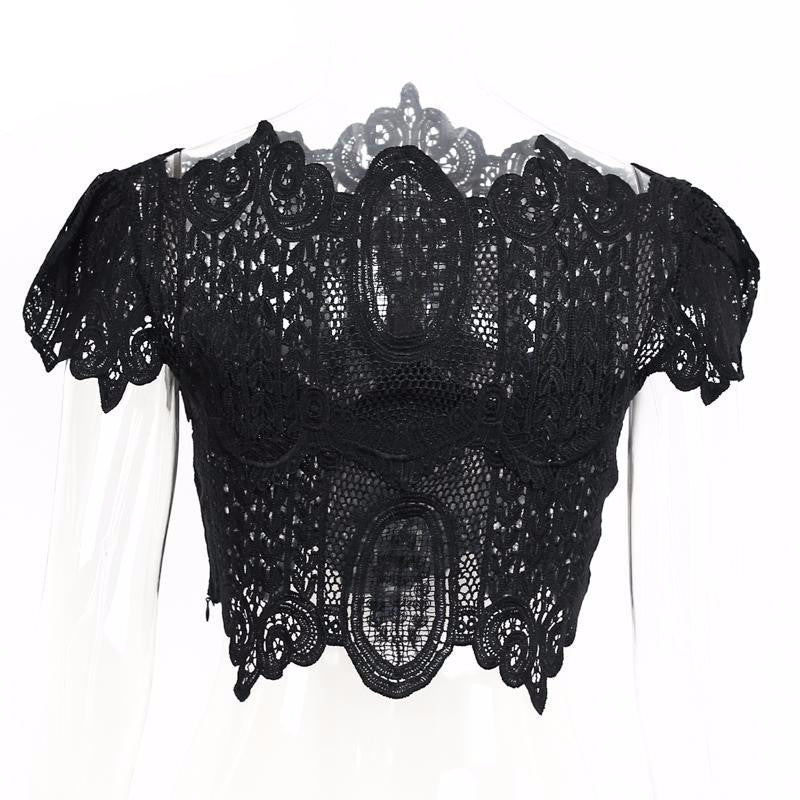 Apparel Summer style elegant black lace crochet crop top Girls short sleeve white blouse Women sexy hollow out tank tops