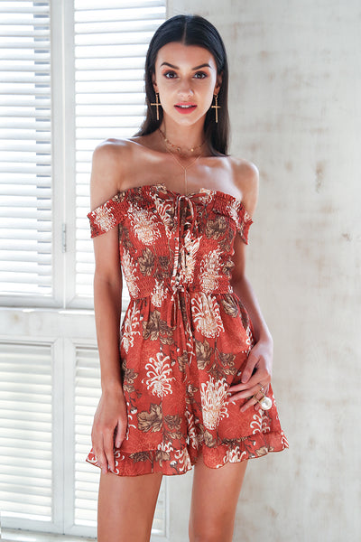 4bfaa327267 Sasha Off the Shoulder Brick Floral Romper