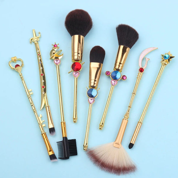 Sailor Moon Outer Senshi Brush Set | Kawaii Anime Beauty Tools | Bijou Blossoms | Moonies rejoice! This beautiful 8-piece makeup brush set features designs inspired from the iconic Sailor Moon Outer Senshi: Sailor Uranus, Sailor Neptune, Sailor Saturn, & Sailor Pluto!