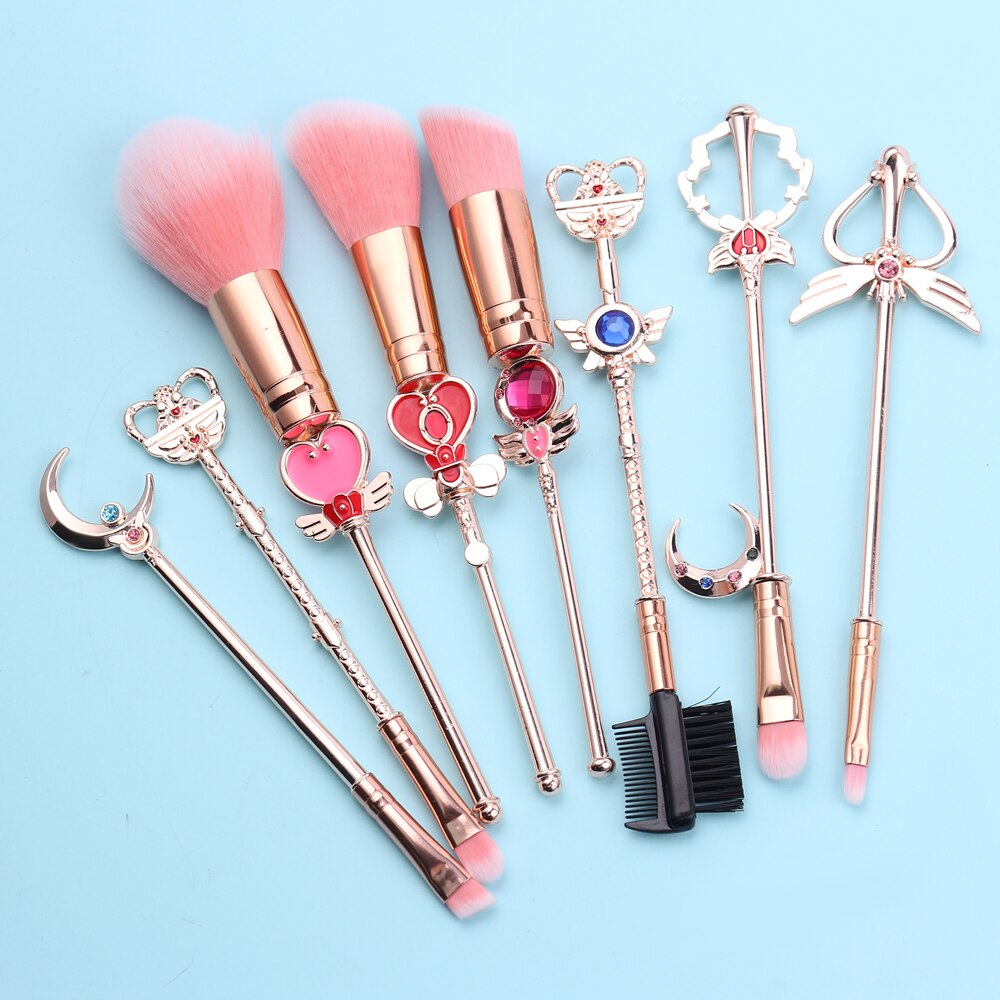 The Sailor Moon Princess Makeup Brush Set is an 8 piece brush set featuring designs styled after pretty soldier Sailor Moon's gorgeous moon sticks, staffs, and wands!