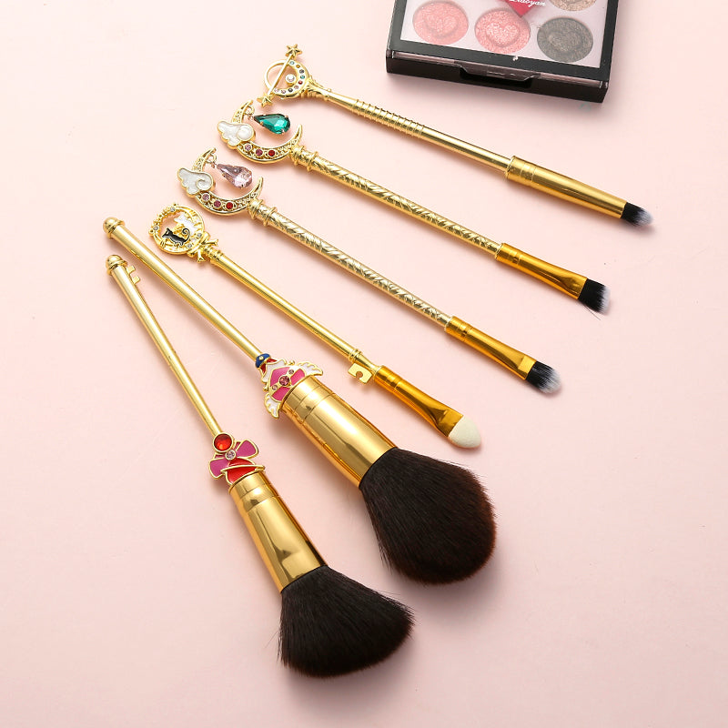 Sailor Moon Silver Crystal 6-Piece Makeup Brush Set in Gold Color Variation | Kawaii Beauty Tools | Bijou Blossoms