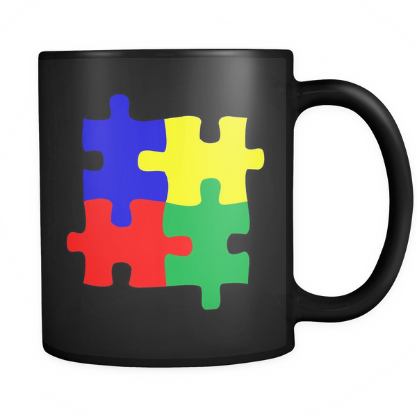 I support Autism puzzle coffee mug. Black coffee mug 11 ozs.