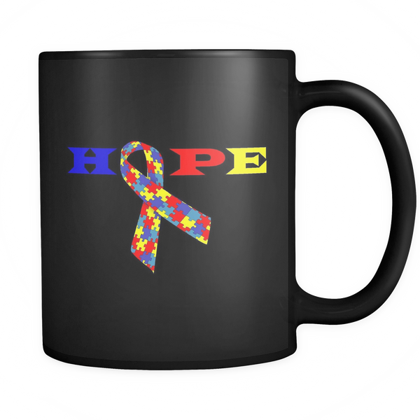 Black 11 oz coffee mug with the word Hope and an Autism ribbon