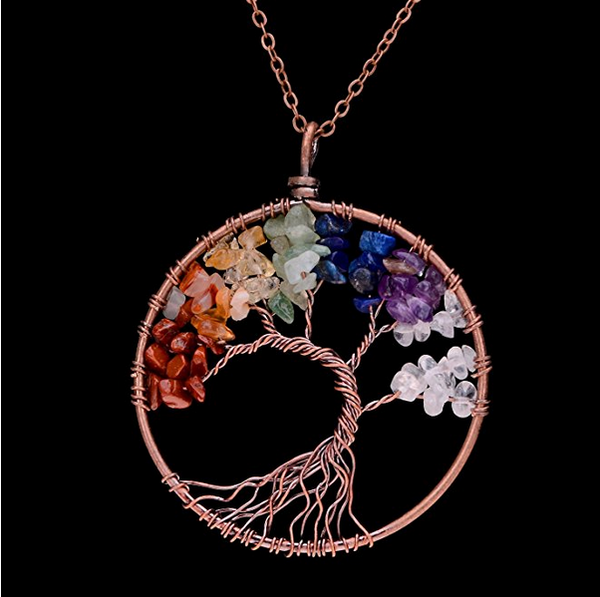 7 chakra stones arranged on gold plated copper wire branches in a beautiful tree look. Handmade tree of life chakra pendant necklace is associated with knowledge and wisdom and promotes beauty, health, good luck, and healing