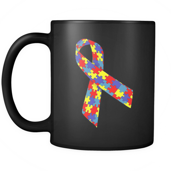 I support Autism ribbon on a black 11 oz coffee mug.