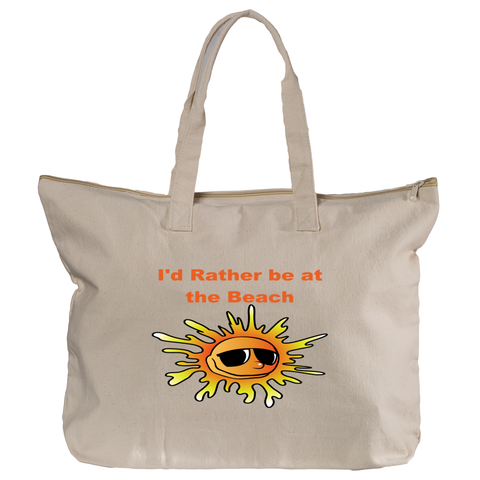 Canvas Zippered Tote Bag - I'd Rather be at the Beach