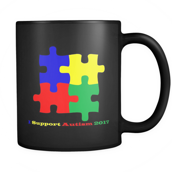 Black coffee mug 11 ozs. Puzzle with I support Autism 2017