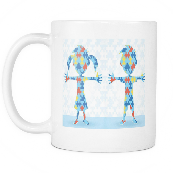 Autism support white coffee mug with a boy and a girl made in puzzle pieces.