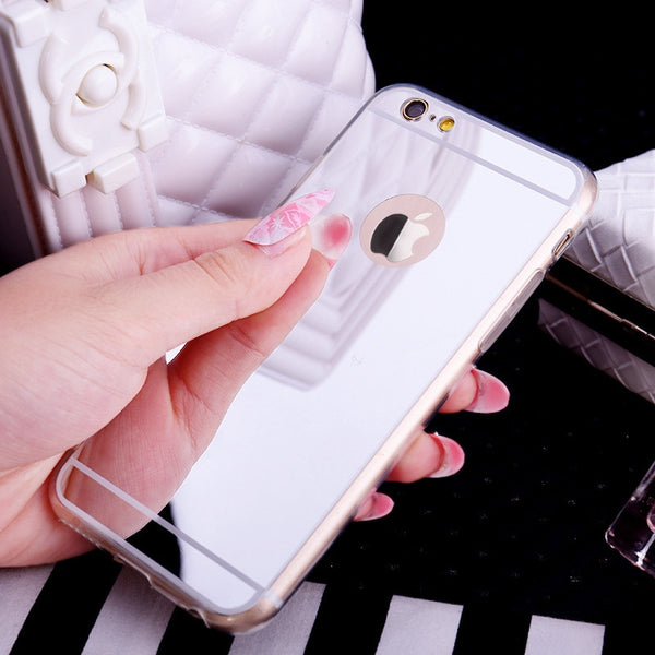 Silver iphone case with mirror built in. Perfect for checking your hair and make up for selfies.