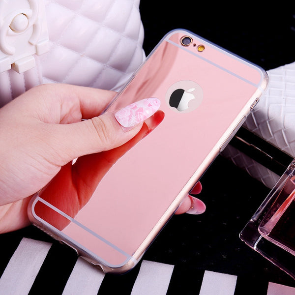 Rose Gold color mirror cell phone case protects your iphone from dirt, scratches, and shock