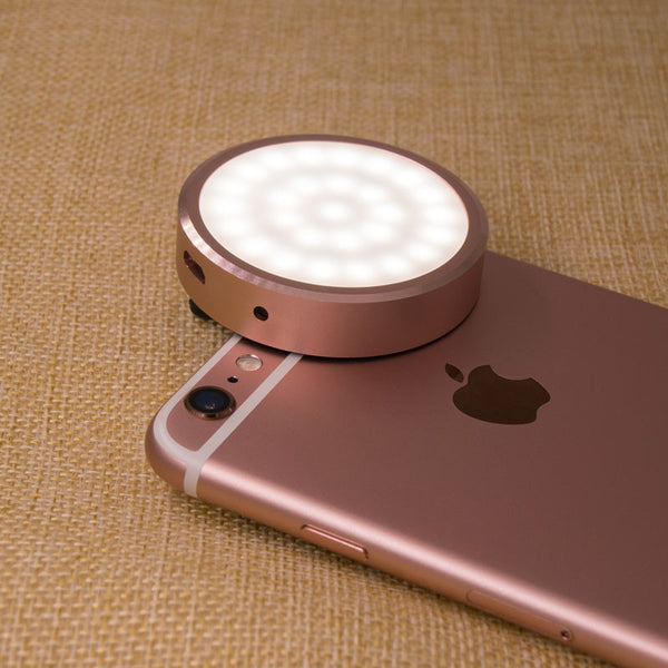 Rose Gold Iphone LED enhancing light for photos, videos, makeup, ring light while using your phone as a mirror, spotlight lighting for night light, or even as an emergency light when the phone power runs out.