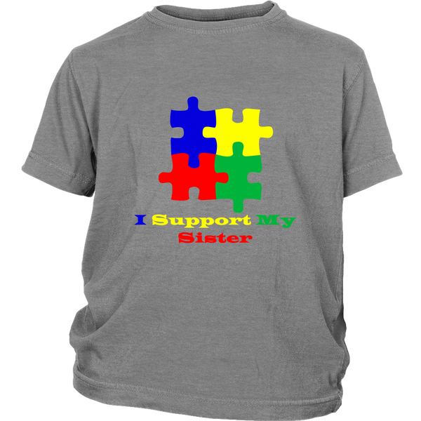 Kids grey Autism Awareness puzzle short sleeve t-shirt - I support my sister