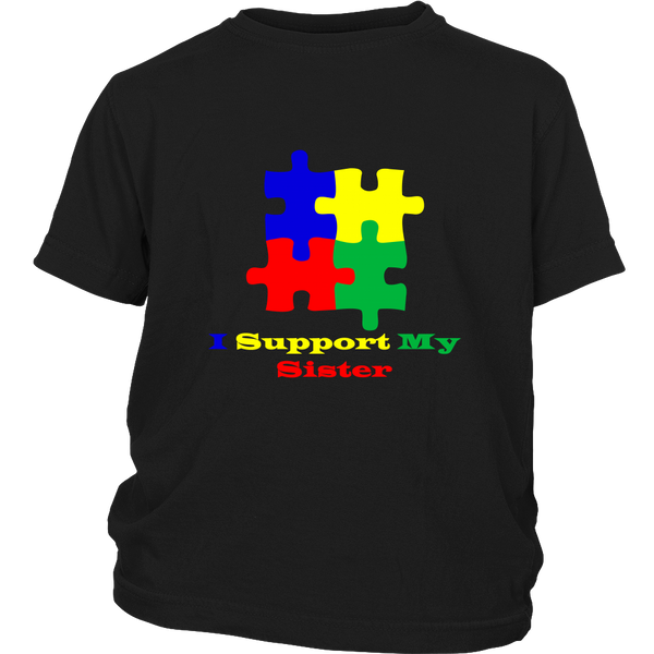 Childs I support my sister black Autism Awareness puzzle t shirt