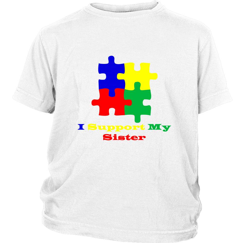 Kids white Autism Awareness puzzle short sleeve t-shirt - I support my sister