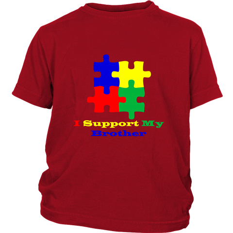 Kids red Autism Awareness puzzle t-shirt - I support my brother