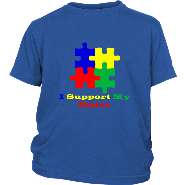 Childs I support my sister blue Autism Awareness puzzle t shirt