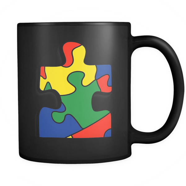 Support Autism with this black coffee mug with a single puzzle piece. 11 ozs.
