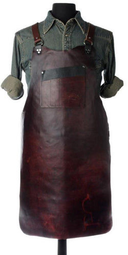 Hand Dyed Veg Tan Work Apron - Walnut - In Limited Supply.