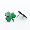 St Patricks Day Leather Clover Studs