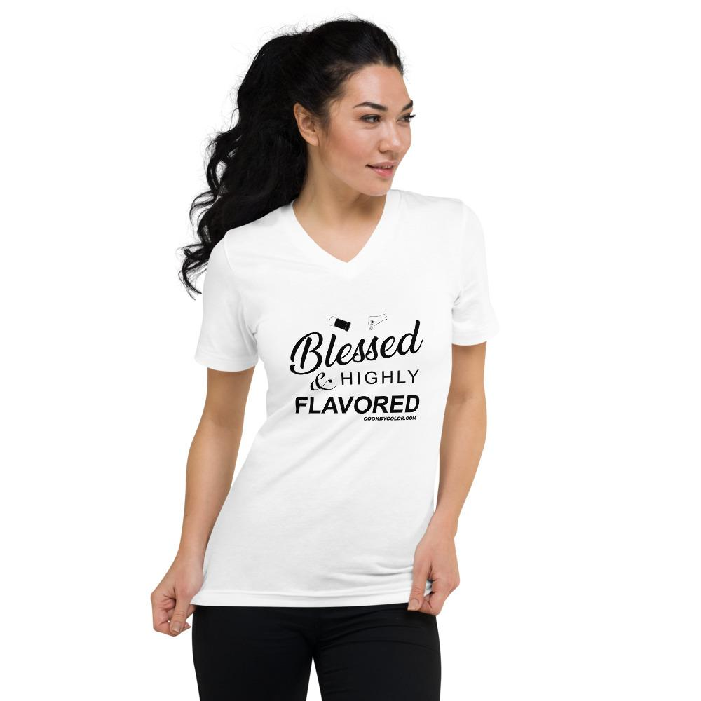 "Load image into Gallery viewer, ""Blessed & Highly Flavored"" Unisex V-Neck T-Shirt White"
