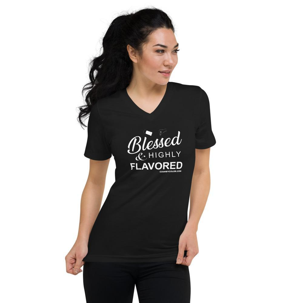 """Blessed & Highly Flavored"" Unisex V-Neck T-Shirt Black"