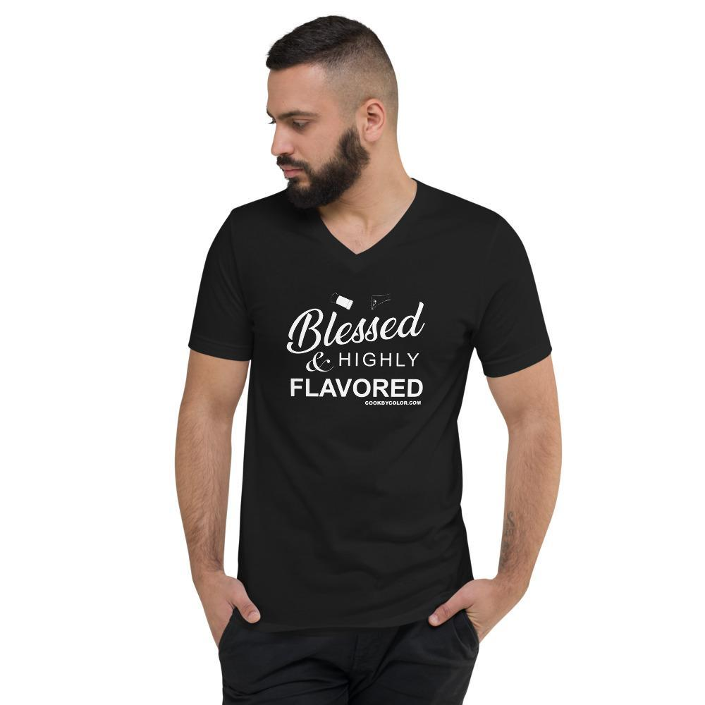 "Load image into Gallery viewer, ""Blessed & Highly Flavored"" Unisex V-Neck T-Shirt Black"