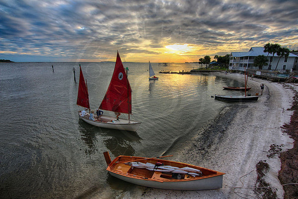 Cedar Key Red Sailboat