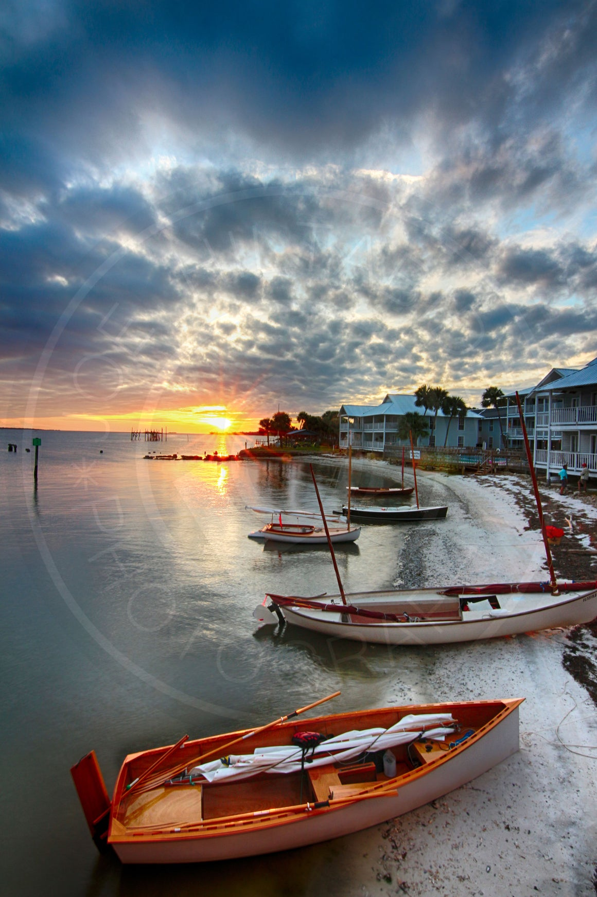 Cedar Key Sunburst and Sailboats