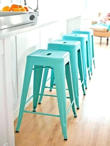 Turquoise Blue Metal Bar Stools