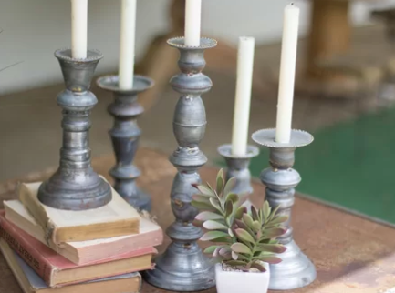 Antiqued Candle Holders