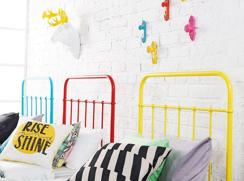 Fun colored headboards and wall hooks red, blue, yellow