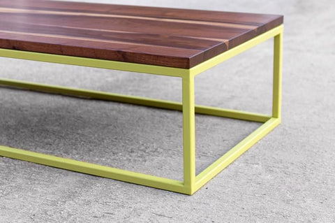 Wood and Metal green coffee table