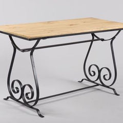 Decorative Wood and Metal Scroll Coffee Table