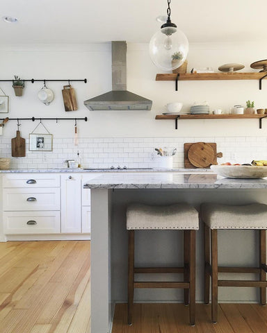 Open Floating Shelves in Kitchen