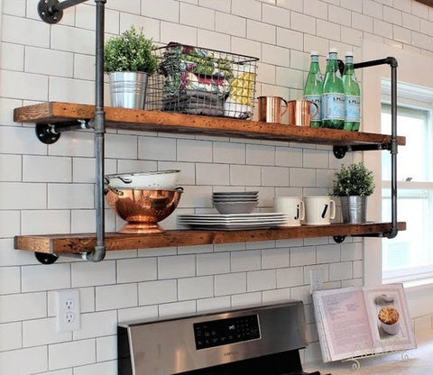 Pipe Shelves in Kitchen Subway tile