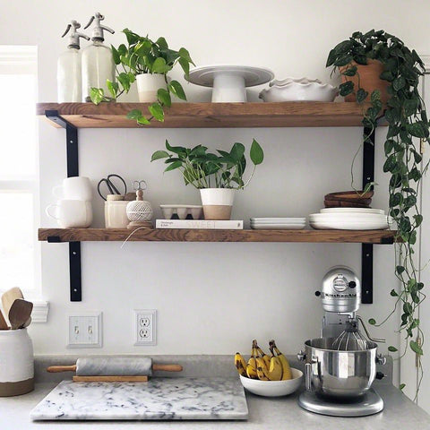 Simple wood and metal open shelving