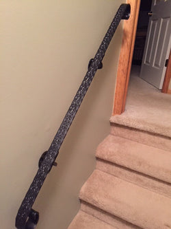 Hand Forged Hammered and Engraved Wrought Iron Handrail, Railing - Arc and Hammer Designs