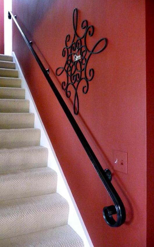 Hand Forged Scroll Wrought Iron Handrail, Railing - Arc and Hammer Designs