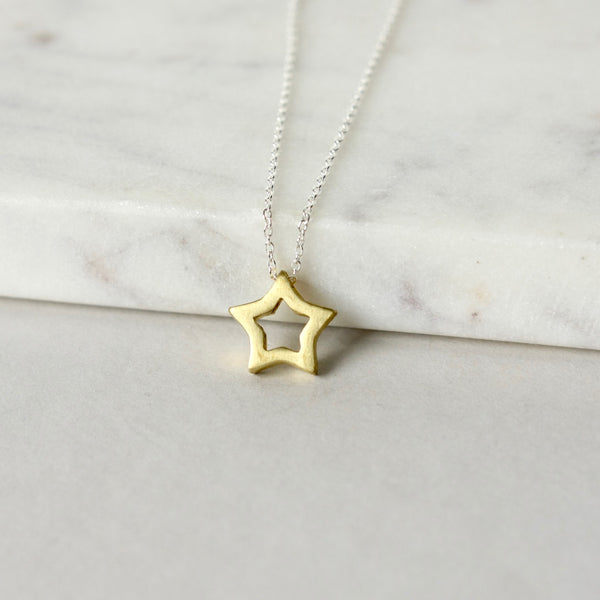 Mixed Metal Brass Star Necklace