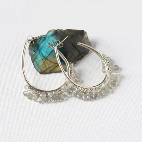 Big Faceted Labradorite Sterling Silver Hoop Earrings