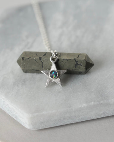 Sterling Silver Opal Star Necklace