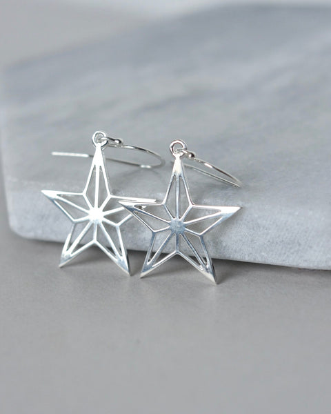 Big Sterling Silver Star Earrings