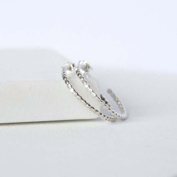 Sterling Silver Hammered Beaded Hoop Earrings